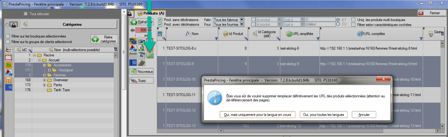 ré-écrire l'url automatiquement sur plusieurs produits PrestaShop en même temps