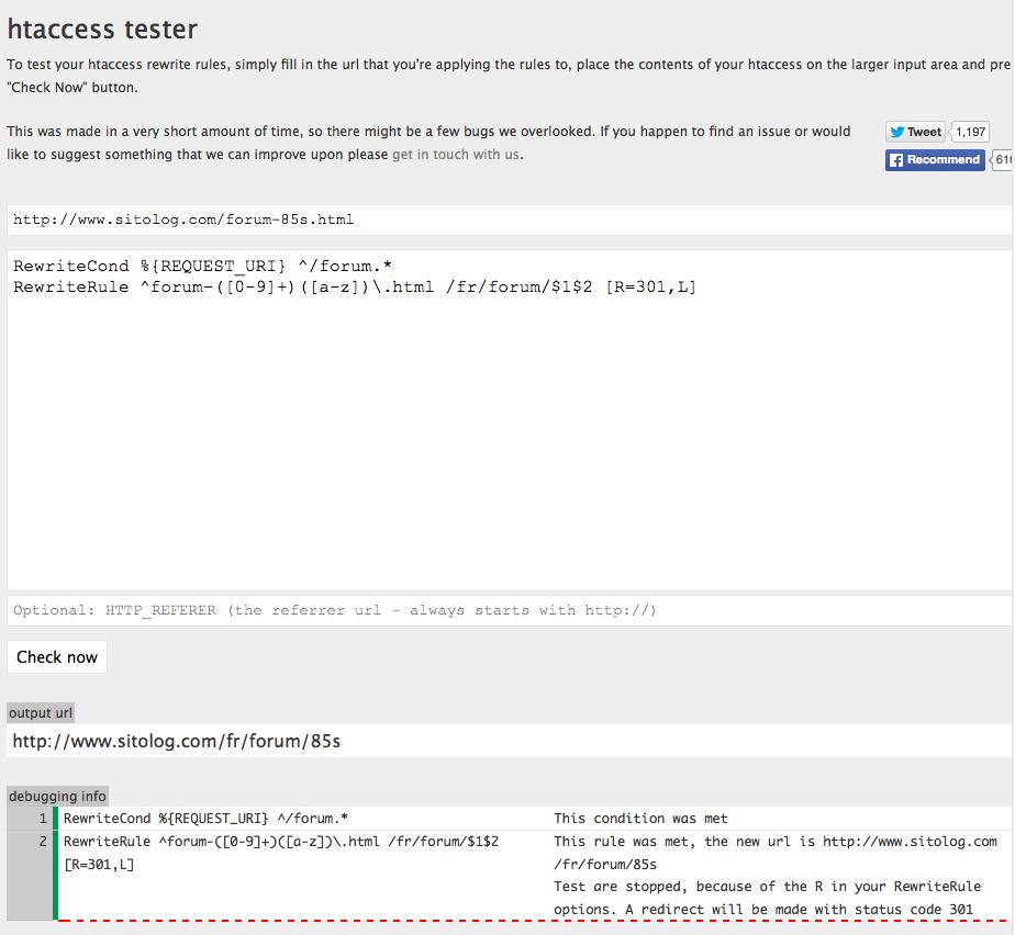 utilisation de htaccess tester pour valider une regle de ré-écriture avant de la placer dans le .htAccess