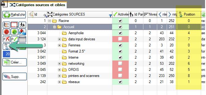 Reorder categories from prestaCategories