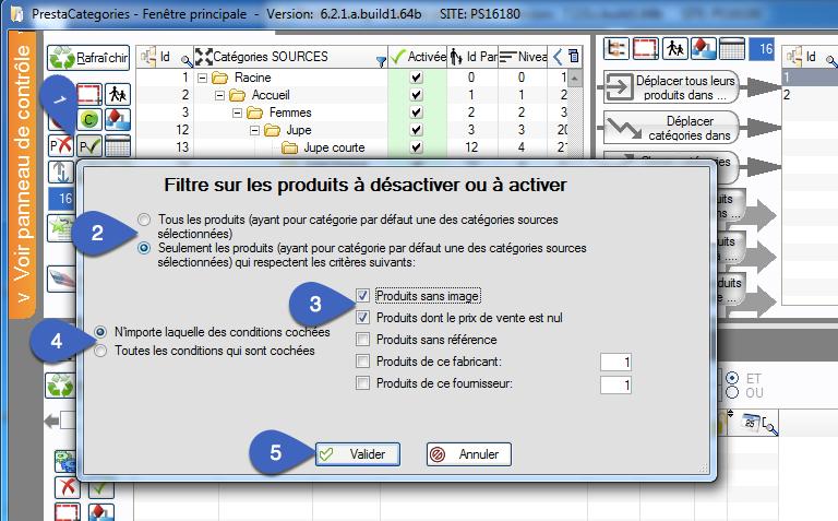Activer et désactiver des produits sans les afficher avec filtrage dans PrestaCatégories
