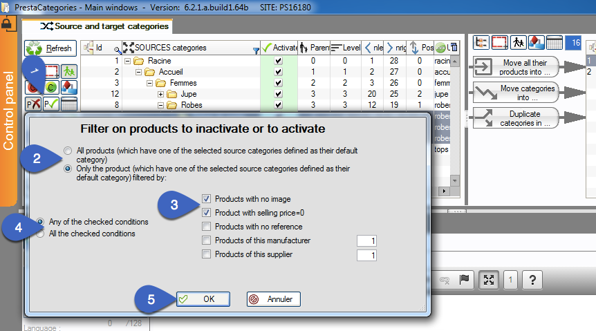 Enable and disable products without displaying them with filtering in PrestaCategories