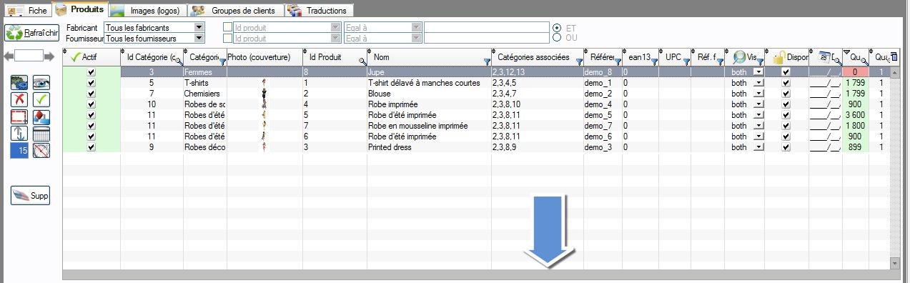 Comment accéder aux colonnes les plus à droite d'une table dans PrestaPricing et PrestaCatégories