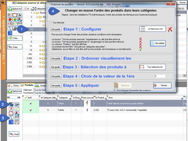 Comment modifier l'ordre d'affichage des produits dans chacune de leurs catégories associées dans PrestaCatégories