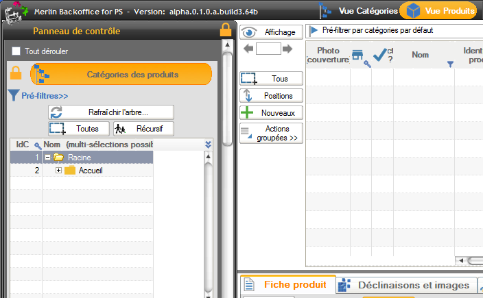 Vue du module en mode gestion des produits
