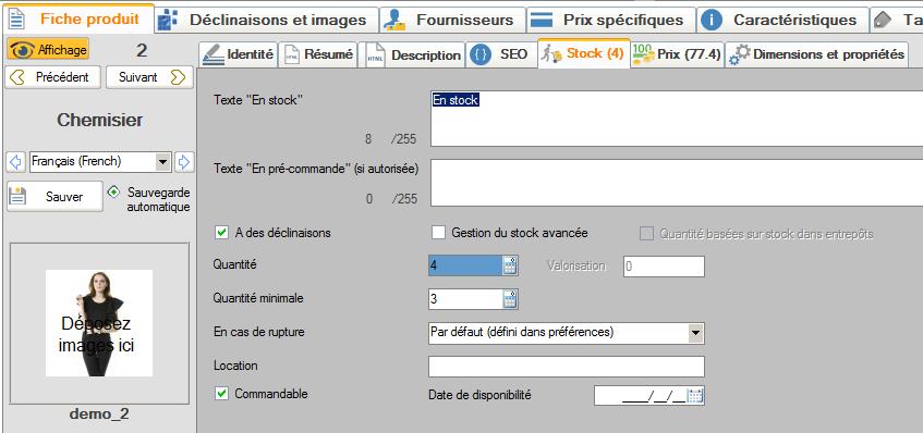 Un onglet d'édition des fiches produits complet