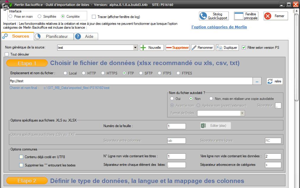 Importation xls multi feuilles et multi formats