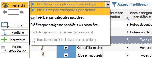 Pré-filtrage sur catégories par liste déroulante