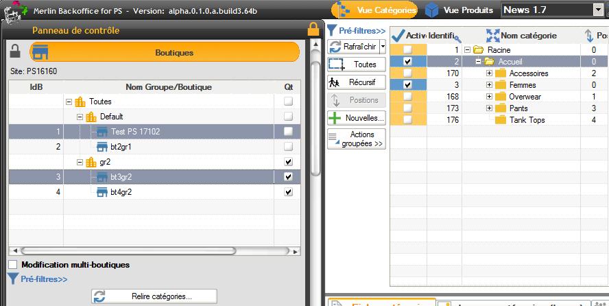 Support complet du multi boutiques PrestaShop dans la gestion des catégories