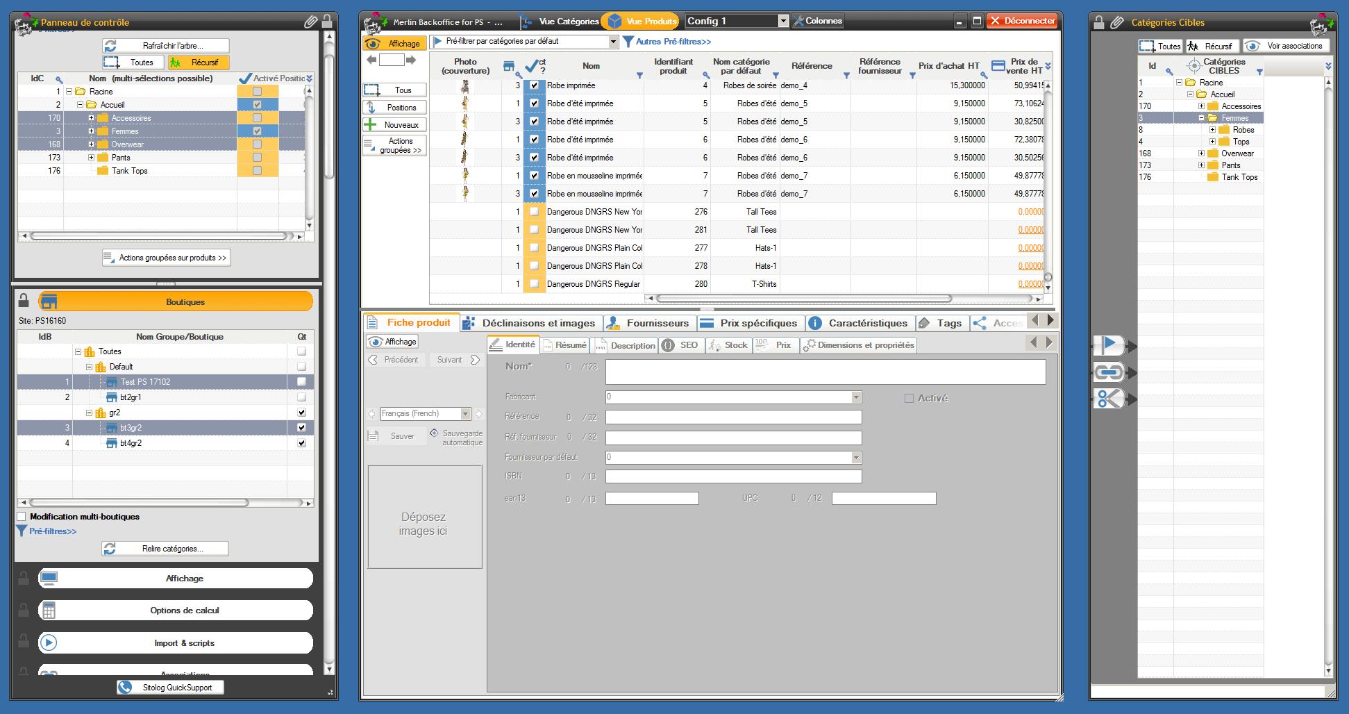 Vue d'ensemble de la solution, avec les deux panneaux latéraux détachés, parfait pour du multi écrans