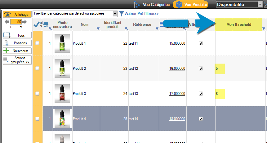 Result, the custome columns is displayed in Merlin backoffice products table