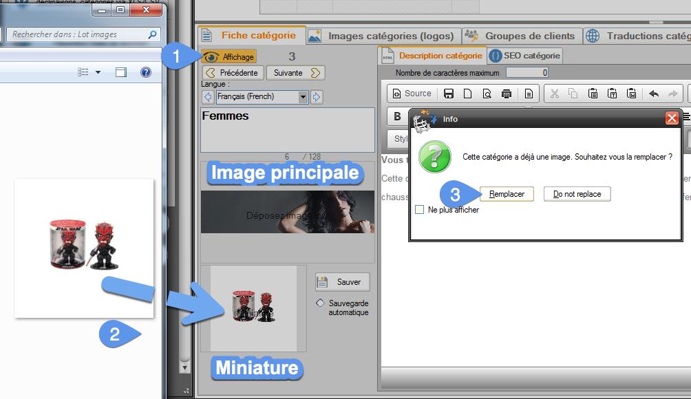 Affichage de la photo principale et le la photo miniature de chaque catégorie dans la fiche