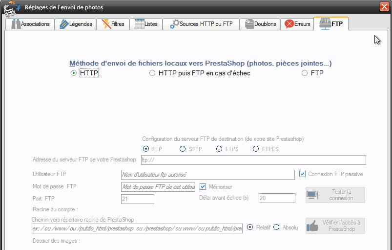 Plus besoin de configurer le FTP pour envoyer les photos, directement par HTTP