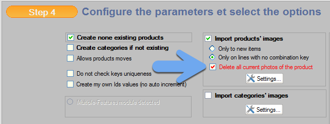 Delete current image before updating product through CSV importation
