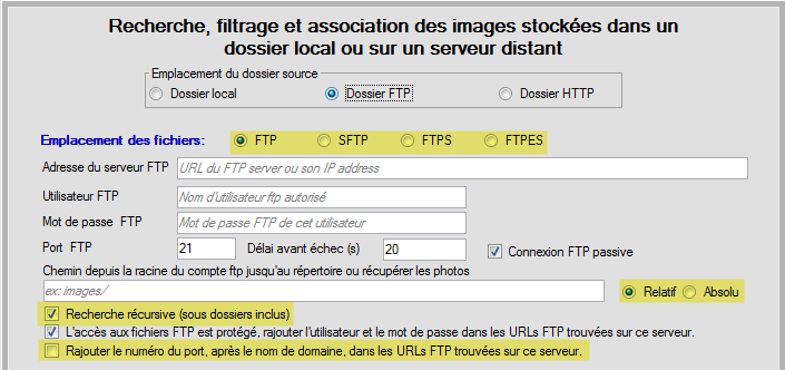 Option sde configuration FTP