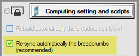 Automatic re-sync of breadcrumbs data