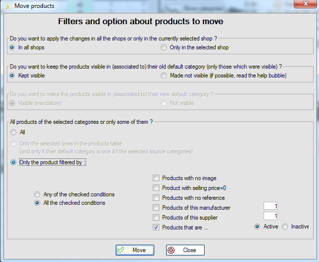 Products move options