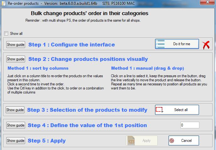Products order bulk change