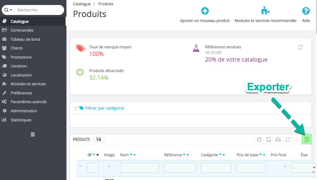 Comment exporter les produits depuis PrestaShop